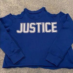 Justice blue sweatshirt